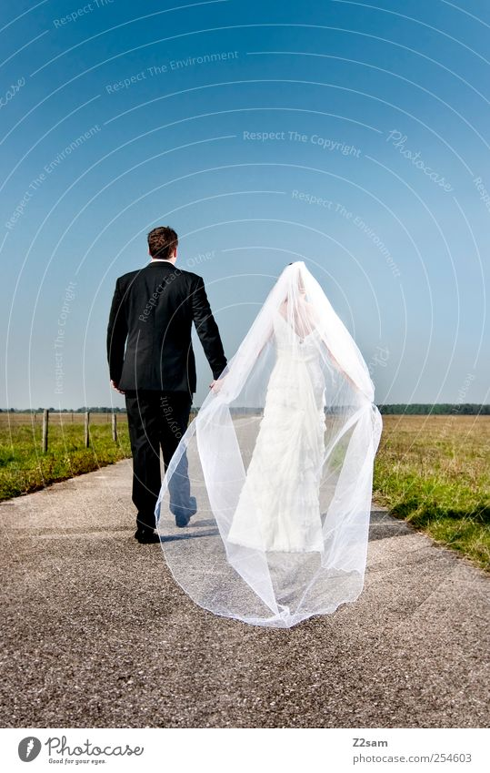 Human being Summer Adults Love Meadow Environment Landscape Couple Horizon Together Going Heart Wedding 18 - 30 years Suit Partner