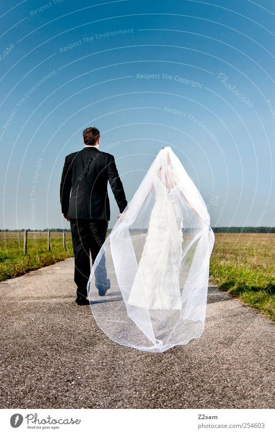 Tobi & Natalie Summer Wedding Human being Couple Partner 2 Environment Landscape Cloudless sky Horizon Meadow Wedding dress Tuxedo Suit Accessory Vail Heart