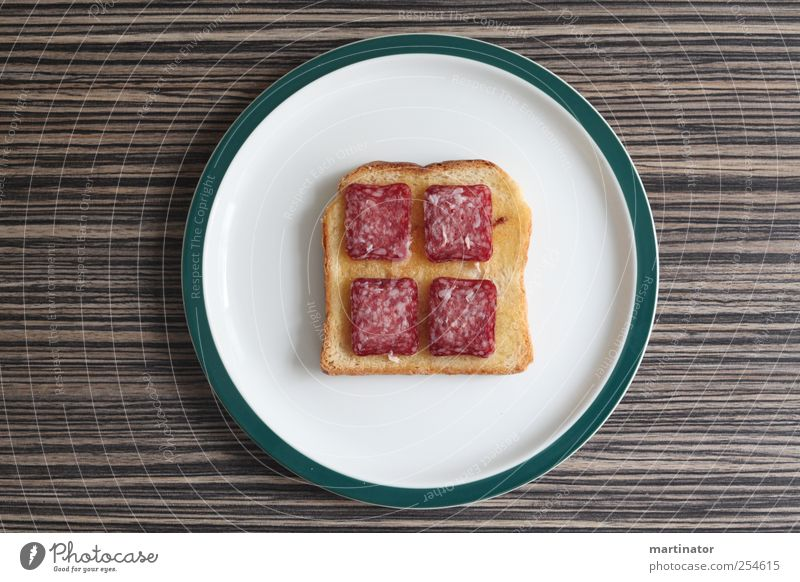 salami toast Meat Sausage Dough Baked goods Bread Nutrition Breakfast Plate Table Esthetic Clean Brown Green White Orderliness Grisons Salsiz Salami