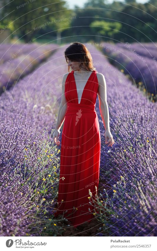 #A# the french girl Feminine 1 Human being Esthetic Dreamily Gorgeous Dream world Idyll Woman Peaceful Red Dress Landscape Blossoming Green pastures Young woman