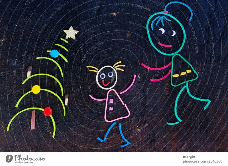 Rubber worms: Christmas surprise! Mother and daughter in front of the Christmas tree Feasts & Celebrations Christmas & Advent Feminine Toddler Girl Young woman