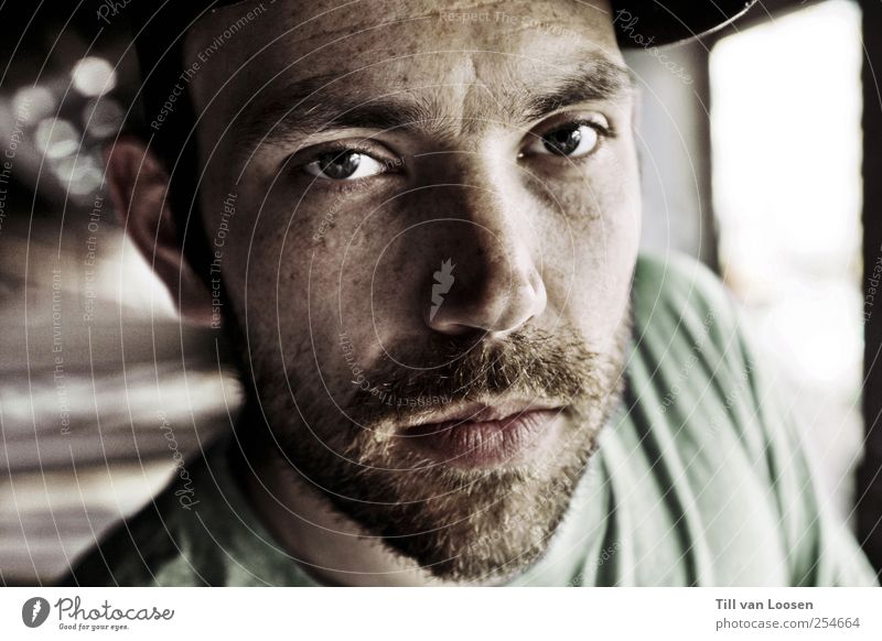 noé Human being Masculine Face 1 30 - 45 years Adults Artist Musician Authentic Cool (slang) Reliability Green Black White Cap T-shirt Blur Beard Colour photo