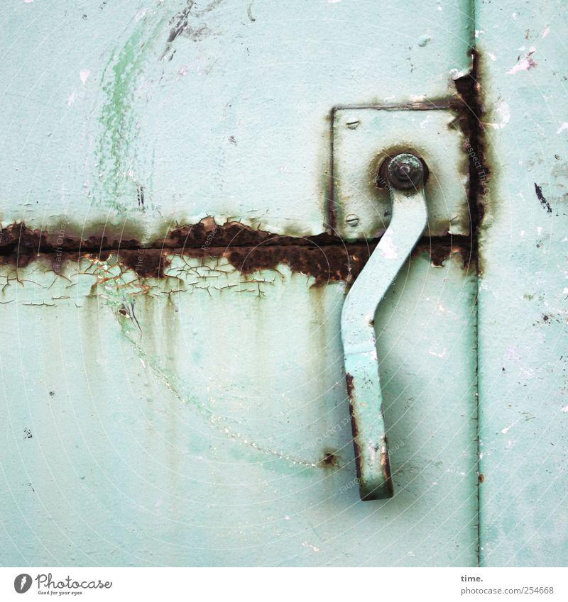Green Metal Door Power Closed Poverty Broken Metalware Transience Rust Shabby Nostalgia Iron Door handle Frustration Stagnating