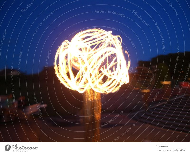 Fire Dancer Long exposure Night Night sky Leisure and hobbies flares Blaze fireball