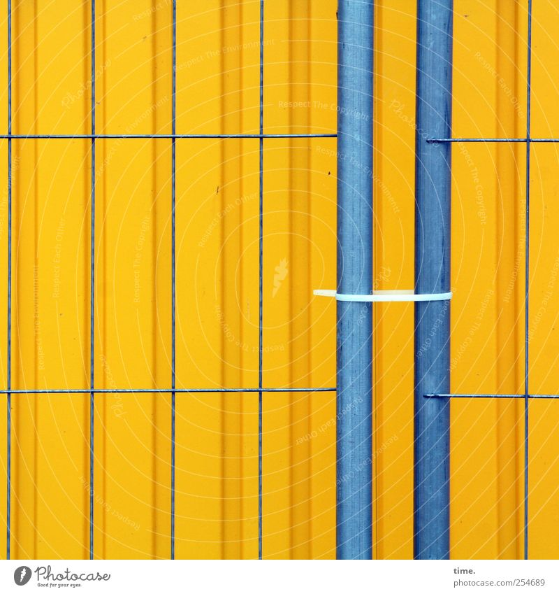 building site aesthetics Contentment Workplace Construction site Craft (trade) Wall (barrier) Wall (building) Container Cable strap Metal Line Stripe Blue