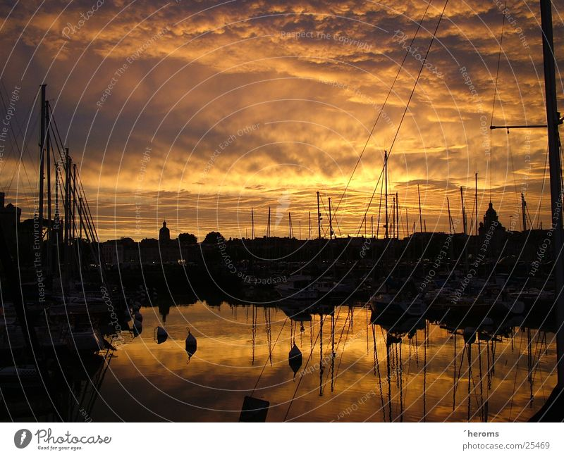 Sunset in La Rochelle, France Harbour Water reflection