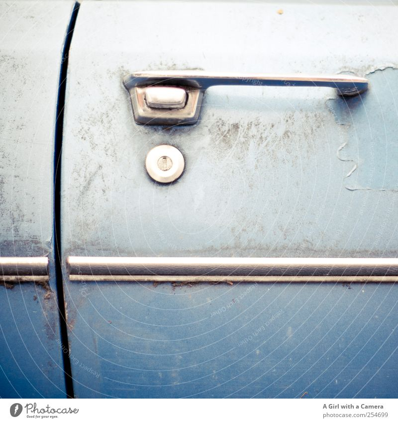 Old Blue Car Dirty Authentic Cool (slang) Exceptional Uniqueness Retro Rust Trashy Vehicle Hip & trendy Nostalgia Door handle Seventies