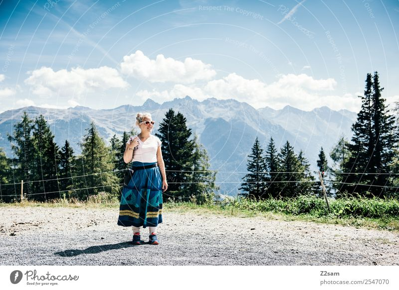 Summer in Tyrol Vacation & Travel Summer vacation Mountain Hiking Young woman Youth (Young adults) 30 - 45 years Adults Nature Landscape Sky Beautiful weather