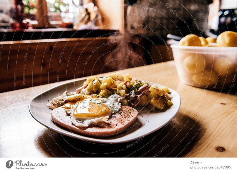 Leberkäse with fried potatoes Food Meat Egg Potatoes Hash brown potatoes Lunch Dinner Plate Mountain Hiking Hut Fragrance Healthy Natural Original Nostalgia