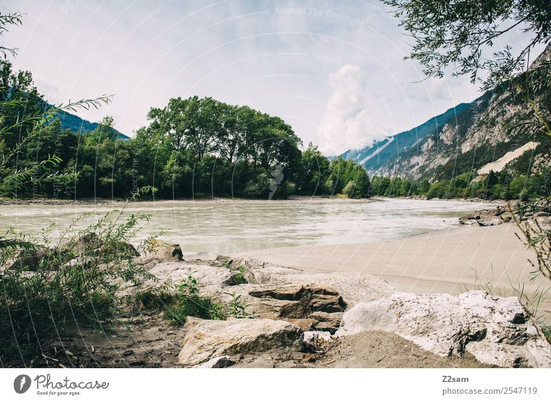 Inn Hiking Environment Nature Landscape Sky Clouds Summer Beautiful weather River bank Sustainability Natural Idyll Perspective Calm Environmental protection