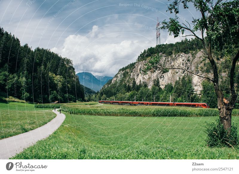 rail country Vacation & Travel Tourism Trip Mountain Hiking Nature Landscape Sun Summer Beautiful weather Alps Means of transport Traffic infrastructure