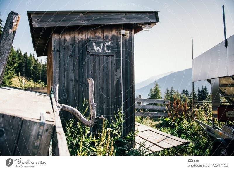 FREILUFT WC Vacation & Travel Summer vacation Mountain Hiking Living or residing Environment Nature Landscape Beautiful weather Bushes Alps Hut Toilet