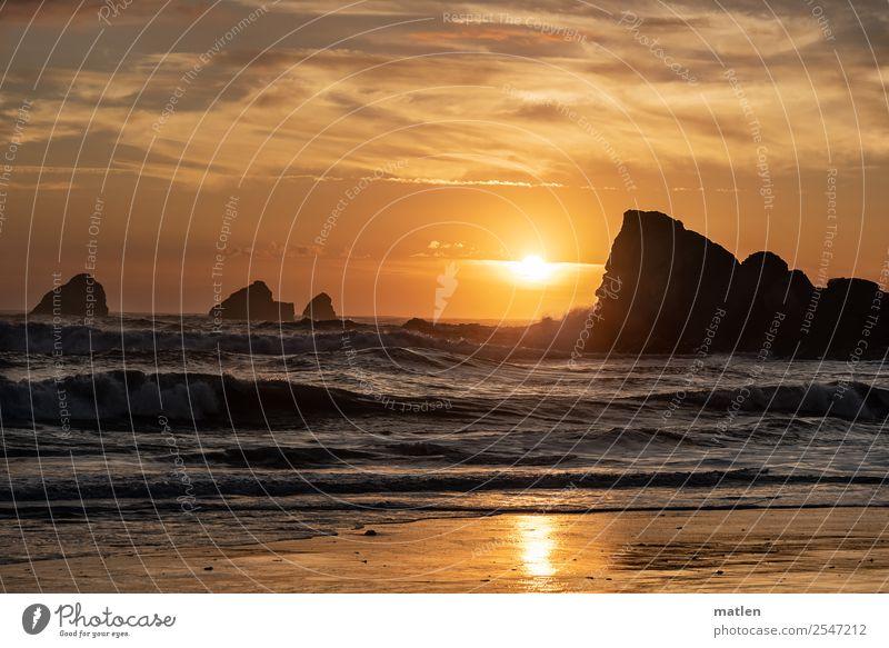 Sky Nature Summer Blue Landscape Ocean Clouds Beach Coast Orange Brown Rock Horizon Gold Waves Glittering