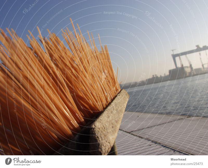 Sun Winter Harbour Craft (trade) Depth of field Crane Schleswig-Holstein Kiel Broom