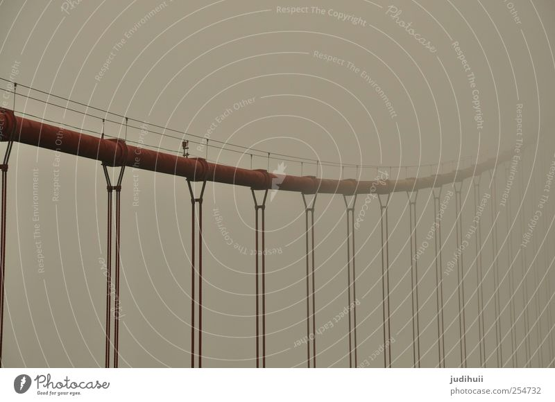 Red Vacation & Travel Architecture Gray Fog Rope Bridge Steel Rust Landmark Sightseeing Tourist Attraction California City trip North America