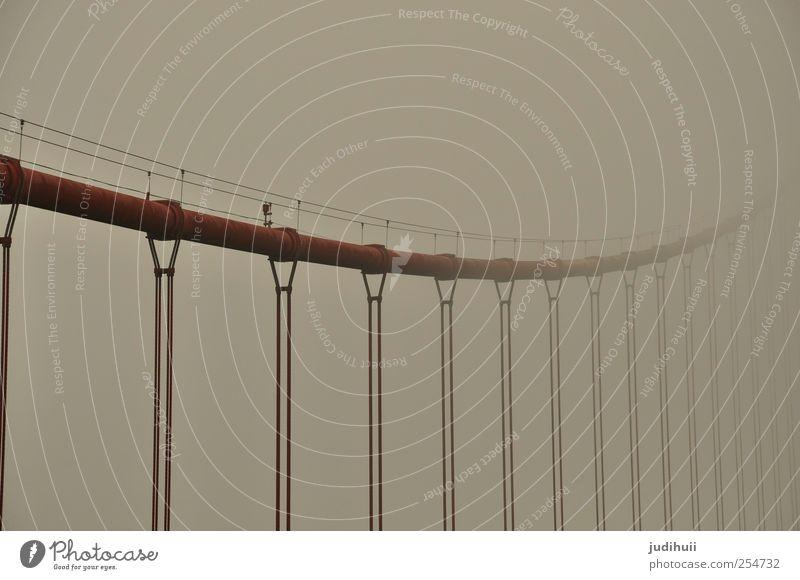 Red Vacation & Travel Architecture Gray Fog Rope Bridge Steel Rust Landmark Sightseeing Tourist Attraction California City trip North America