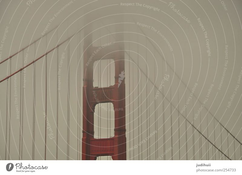 Red Vacation & Travel Far-off places Architecture Gray Fog Trip Bridge Manmade structures Landmark Sightseeing Tourist Attraction Bad weather California