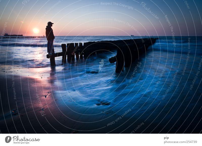 Human being Blue Sun Ocean Summer Beach Far-off places Coast Sadness Waves Horizon Masculine Tourism Exceptional Stand Meditative