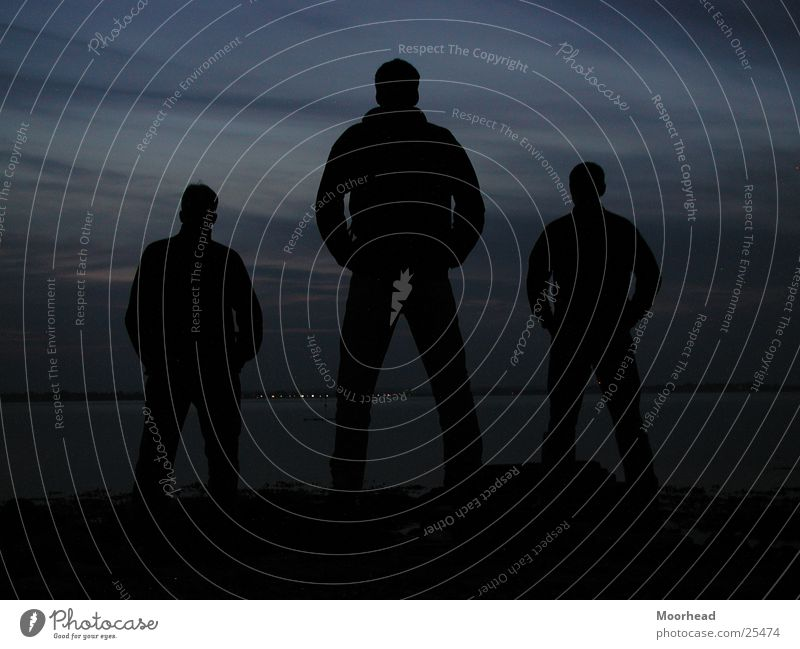 The Three Funny Two Back-light Evening Dark Night Beach Group Dusk cool guys silouette