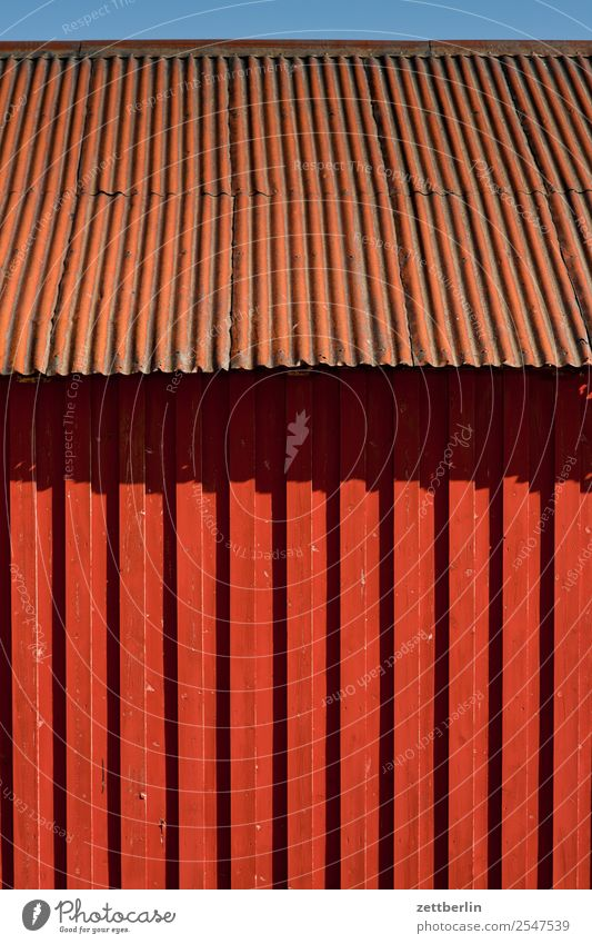 rorbu House (Residential Structure) Hut Roof Corrugated sheet iron Corrugated iron roof Facade falun red Vacation & Travel Fishery Fisherman Fishing port