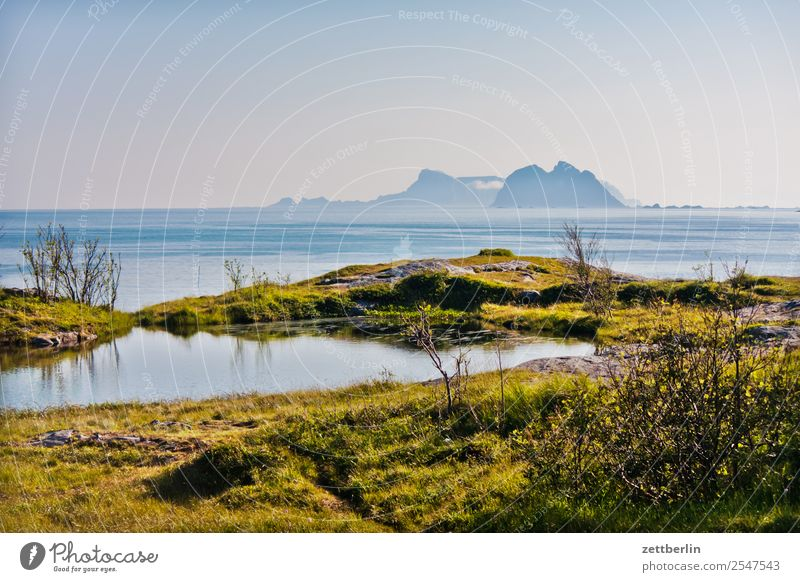 View from Å to Nordland and Sørland Arctic Ocean Europe Rock Vacation & Travel Far-off places Fog Haze Sky Heaven Horizon Island Landscape Lofotes Maritime