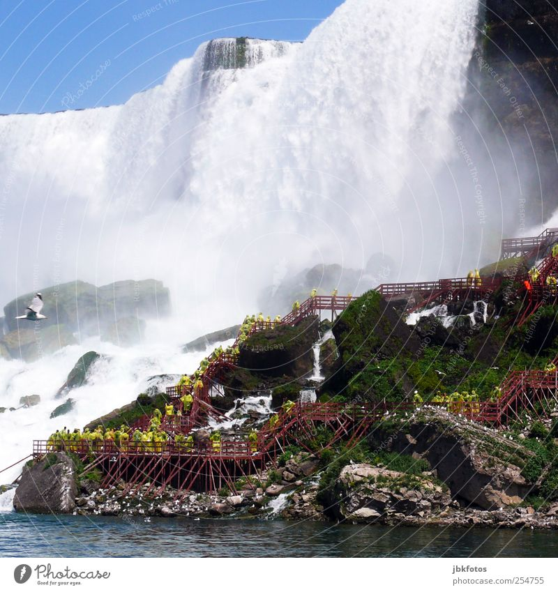 Human being Blue Water Tourism Elements USA River To fall Fantastic Crowd of people Tourist Attraction Sightseeing Waterfall Canada Slope