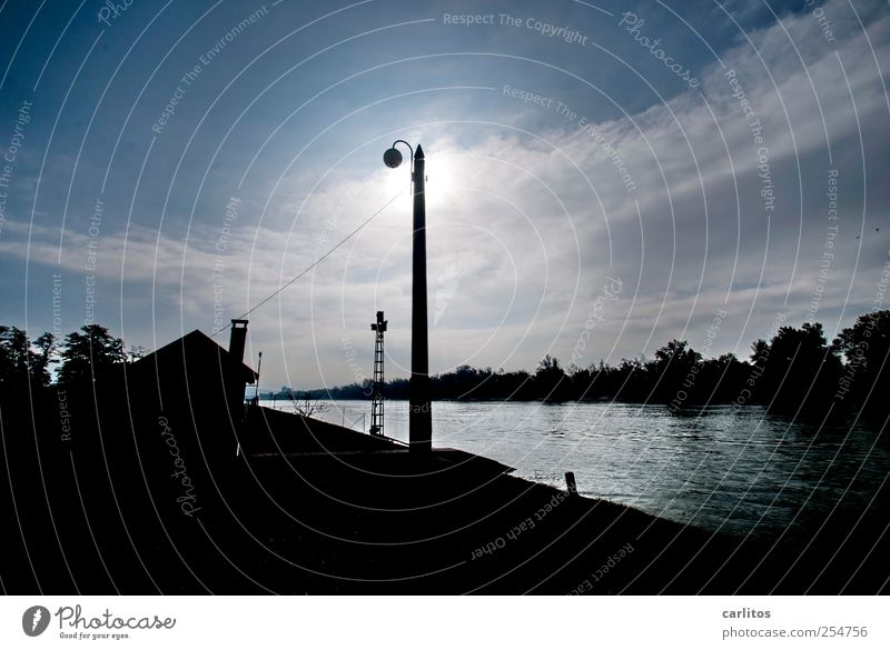 Sky Water Blue Sun Black House (Residential Structure) Air Lighting Glittering Illuminate River Elements Beautiful weather Electricity pylon River bank Rhine