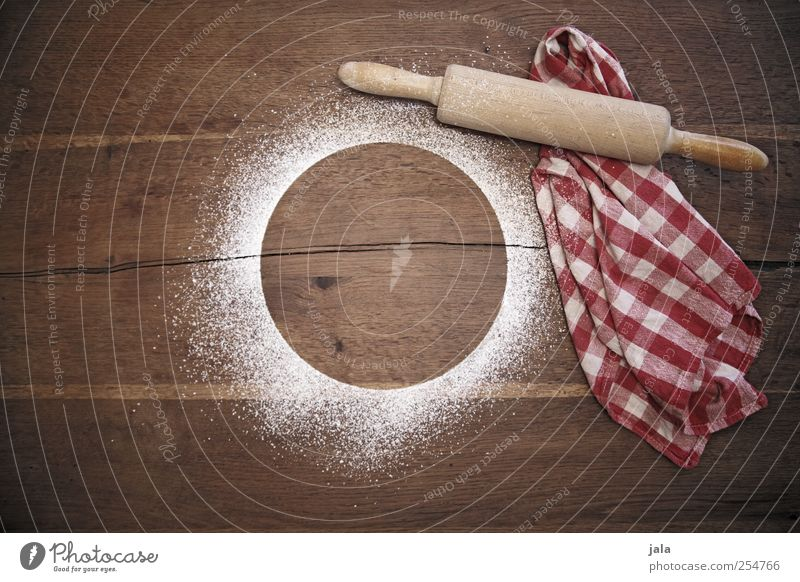 Esthetic Cooking & Baking Wooden table Dish towel Rolling pin Confectioner`s sugar