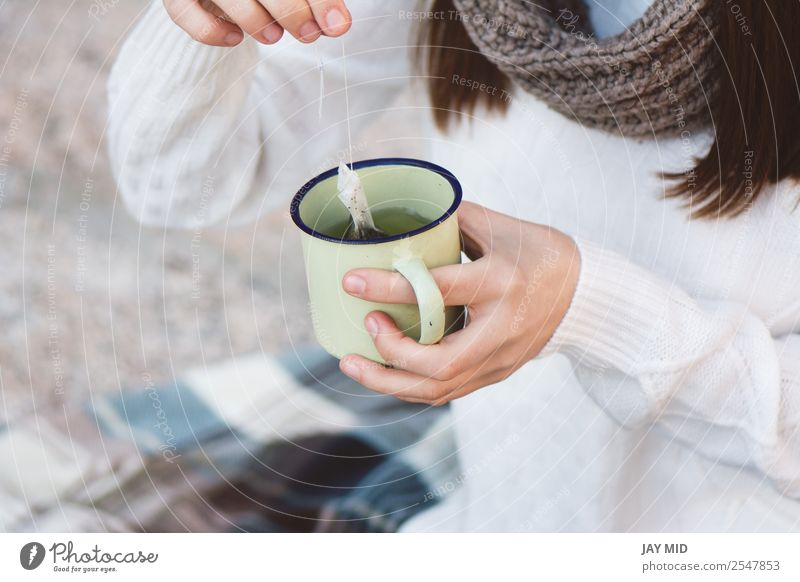 Woman drink a tea, fall time. Outdoor Food Breakfast Beverage Hot drink Tea Lifestyle Relaxation Leisure and hobbies Vacation & Travel Tourism Camping Winter