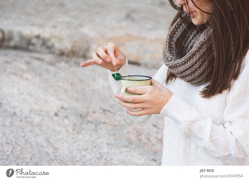 Woman making tea in the nature Beverage Drinking Hot drink Tea Cup Lifestyle Relaxation Leisure and hobbies Vacation & Travel Human being Feminine Adults Hand