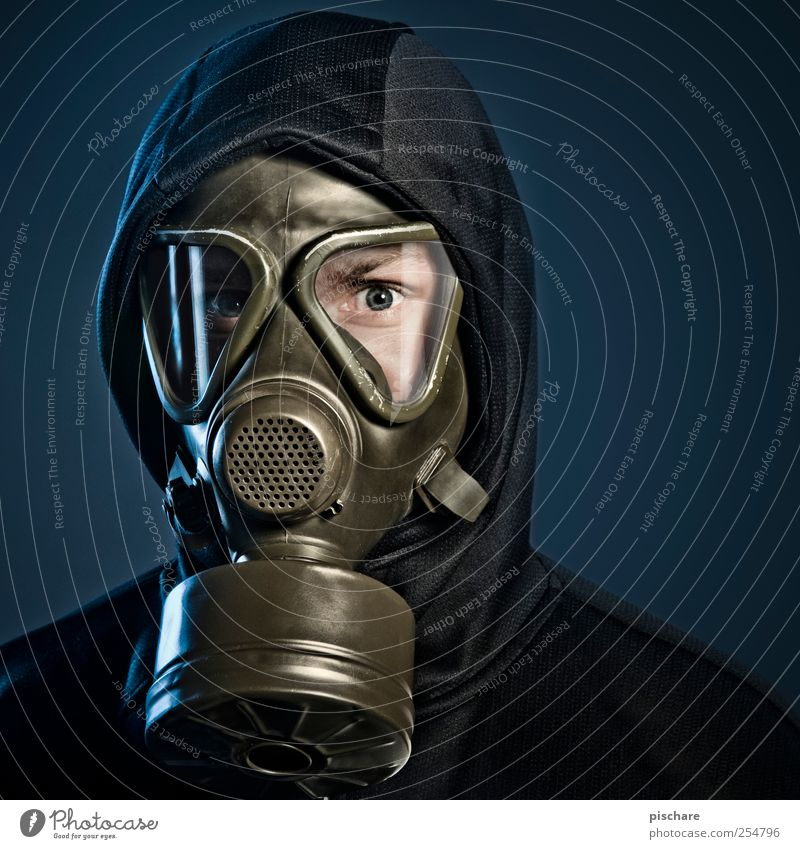 Man Adults Dark Fear Future Threat Creepy Science & Research Breathe Fear of the future Environmental protection Environmental pollution Advancement