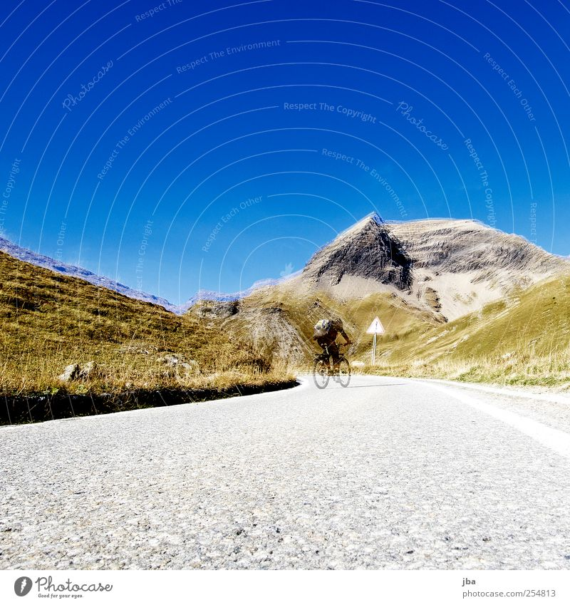 ascent Life Harmonious Contentment Trip Cycling tour Summer vacation Mountain 1 Human being Landscape Air Cloudless sky Autumn Beautiful weather Warmth Grass