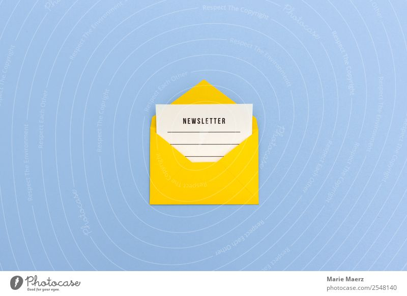 Newsletter - Envelope with message Media industry Advertising Industry Internet Communicate Reading Write Blue Yellow Curiosity Interest Idea Inspiration