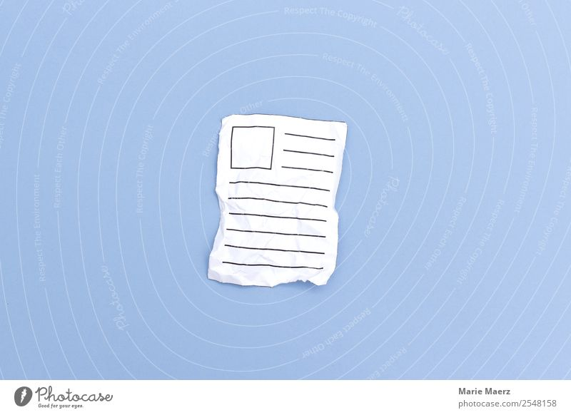 Crumpled paper - rejected contribution Advertising Industry Mail Communicate Write Old Broken Blue White Curiosity Newspaper post Text Letter (Mail) Paper