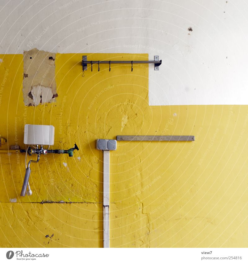 Old Loneliness Yellow Wall (building) Wall (barrier) Stone Line Arrangement Interior design Planning Authentic Cable Change Stripe Living or residing Uniqueness