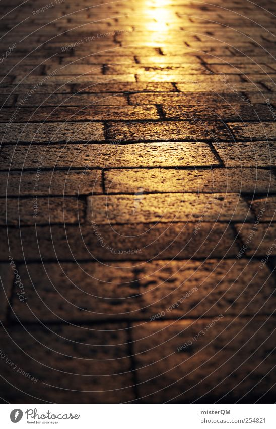 On golden paths. Deserted Esthetic Perspective Lanes & trails Street Future Hope Gold Warmth Paving stone Venice Historic Old Traffic lane Downtown Sun Mystic
