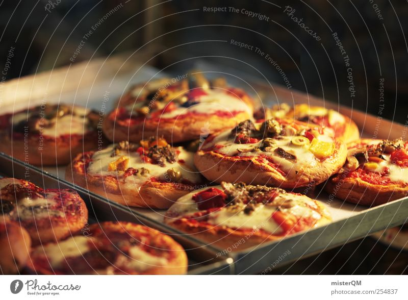 Pizza's ready. Lifestyle Esthetic Nutrition Fast food Italian Culinary Fresh Stovepipe Miniature Many Italy Dough Delicious Appetite Hot Unhealthy