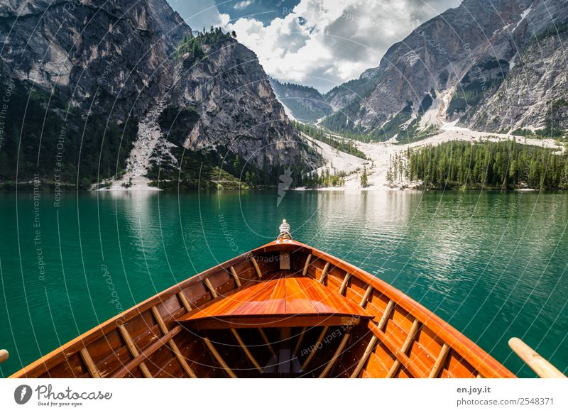 Nature Vacation & Travel Summer Landscape Relaxation Clouds Calm Far-off places Mountain Wood Tourism Freedom Lake Rock Trip Idyll