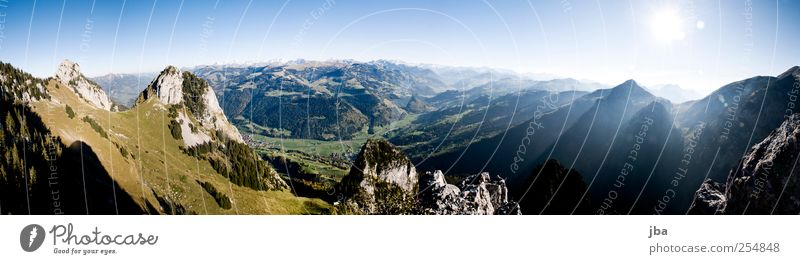 Panorama Bernese Oberland Life Contentment Calm Adventure Freedom Summer Mountain Hiking Climbing Mountaineering Nature Landscape Earth Cloudless sky Sun Autumn