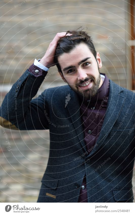 Bearded smiling man wearing british elegant suit outdoors Lifestyle Elegant Style Happy Beautiful Hair and hairstyles Human being Masculine Young man