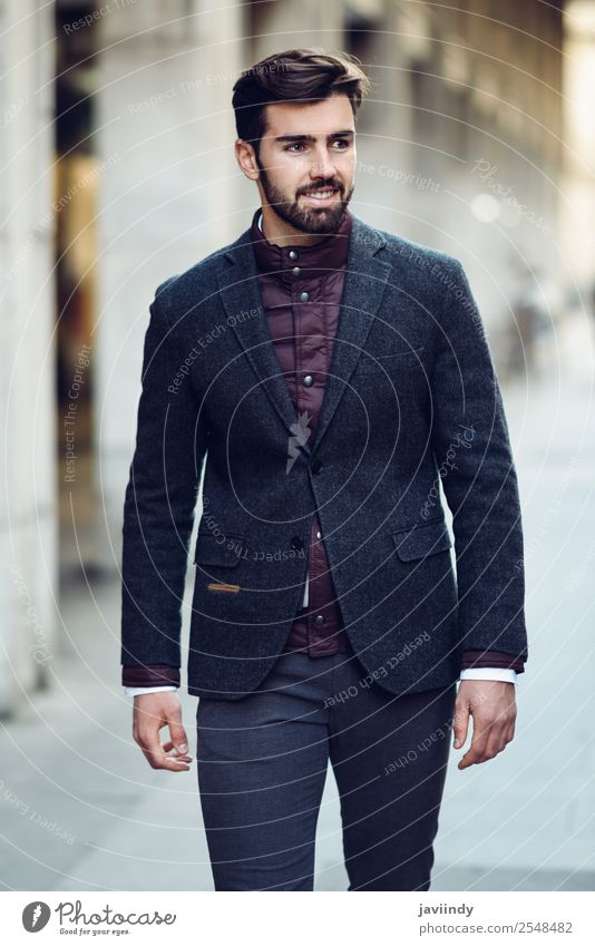 Young bearded smiling man wearing british elegant suit Human being Youth (Young adults) Man Beautiful Young man White 18 - 30 years Street Lifestyle Adults