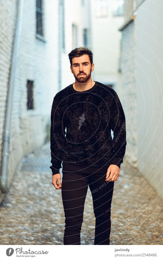 Young bearded man, model of fashion, looking at camera Lifestyle Style Beautiful Hair and hairstyles Human being Masculine Young man Youth (Young adults) Man