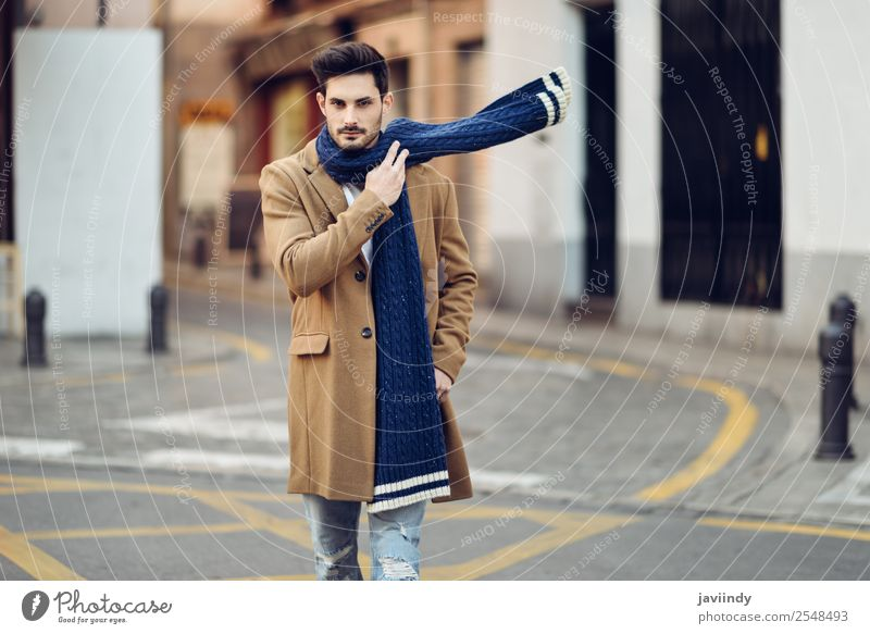 Young man wearing winter clothes in the street Lifestyle Elegant Style Beautiful Hair and hairstyles Winter Human being Masculine Youth (Young adults) Man
