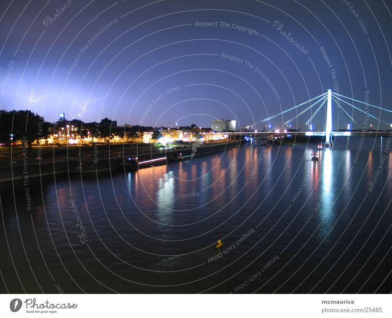 Blue City Bridge River Lightning Cologne Thunder and lightning Rhine