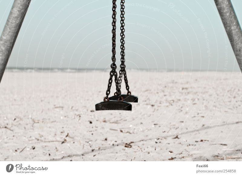 Spiekeroog * Beach swing* Vacation & Travel Tourism Far-off places Sun Ocean Island Waves To swing Sand Cloudless sky Coast North Sea Metal Steel Plastic