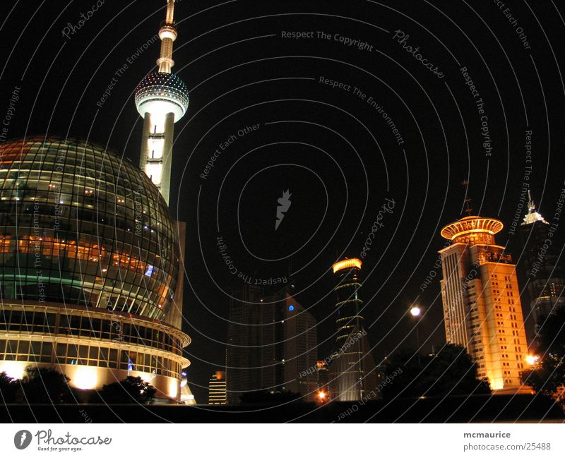shanghai night Shanghai Modern architecture Pu Dong Success Sphere colorful lights Television tower Architecture