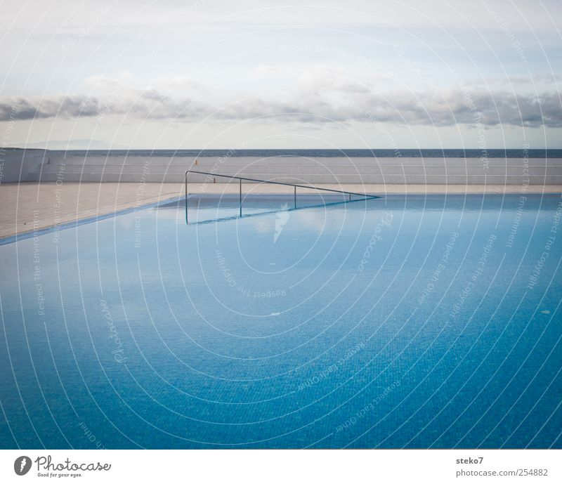 Still Water Sky Clouds Esthetic Blue Swimming pool Direct Horizon Banister Deserted Subdued colour Exterior shot Neutral Background