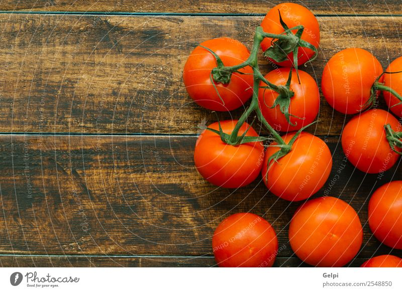 Tomatoes Vegetable Fruit Vegetarian diet Diet Beautiful Table Kitchen Nature Plant Leaf Wood Dark Fresh Wet Natural Green Red White Colour Rustic food Organic