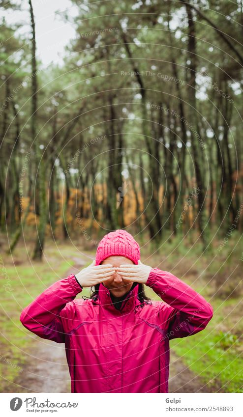 Matured woman Lifestyle Beautiful Face Freedom Winter Human being Woman Adults Nature Autumn Tree Leaf Park Forest Fashion Hat Brunette Natural Cute Pink White
