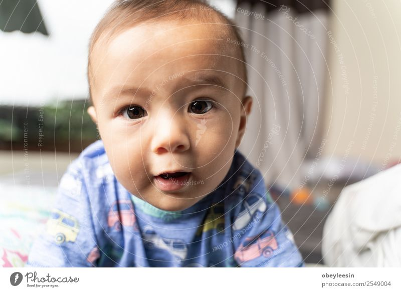 cute young boy playing on the bed Happy Beautiful Face Bathroom Child Human being Baby Toddler Boy (child) Woman Adults Infancy Toys Smiling Laughter Sleep